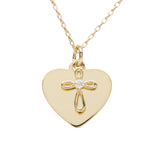 14K Gold-Plated Engraved Heart w/Cross Necklace (GPBCN-Cross Engraved)