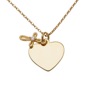 14K Gold-Plated Engraved Heart w/Cross Necklace