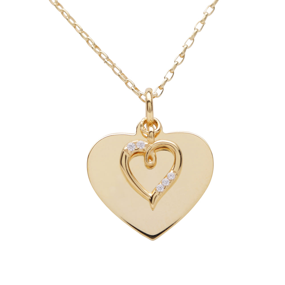 Load image into Gallery viewer, 14K Gold-Plated Engraved Heart Necklace (GPBCN-Heart Engraved)