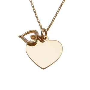 14K Gold-Plated Engraved Heart Necklace (GPBCN-Heart Engraved)