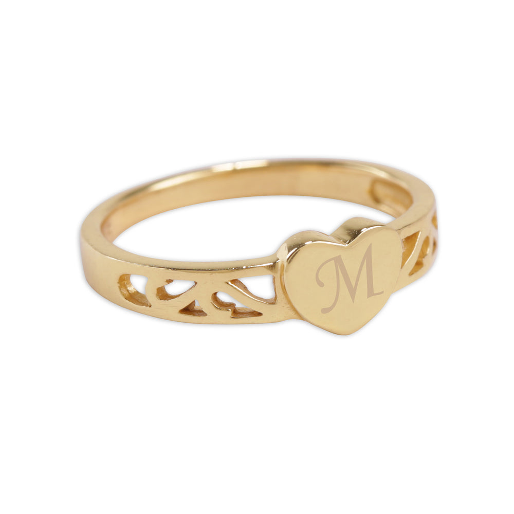 14K Gold Plated Baby Heart Ring - Engraved Initial Heart Ring (GPBR-07)