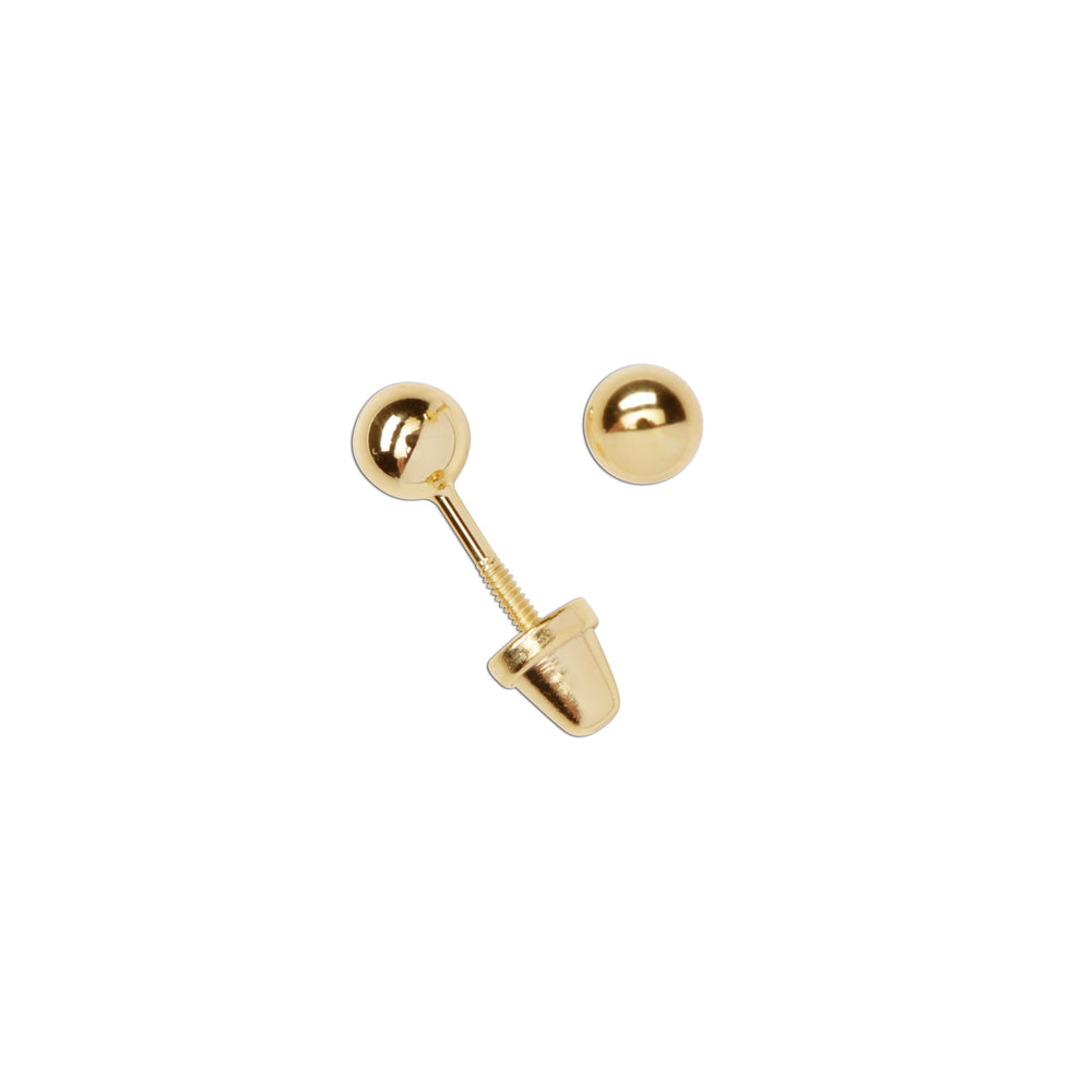 14K Gold-Plated Ball Stud Earrings (GPE-Gold Ball-4mm)