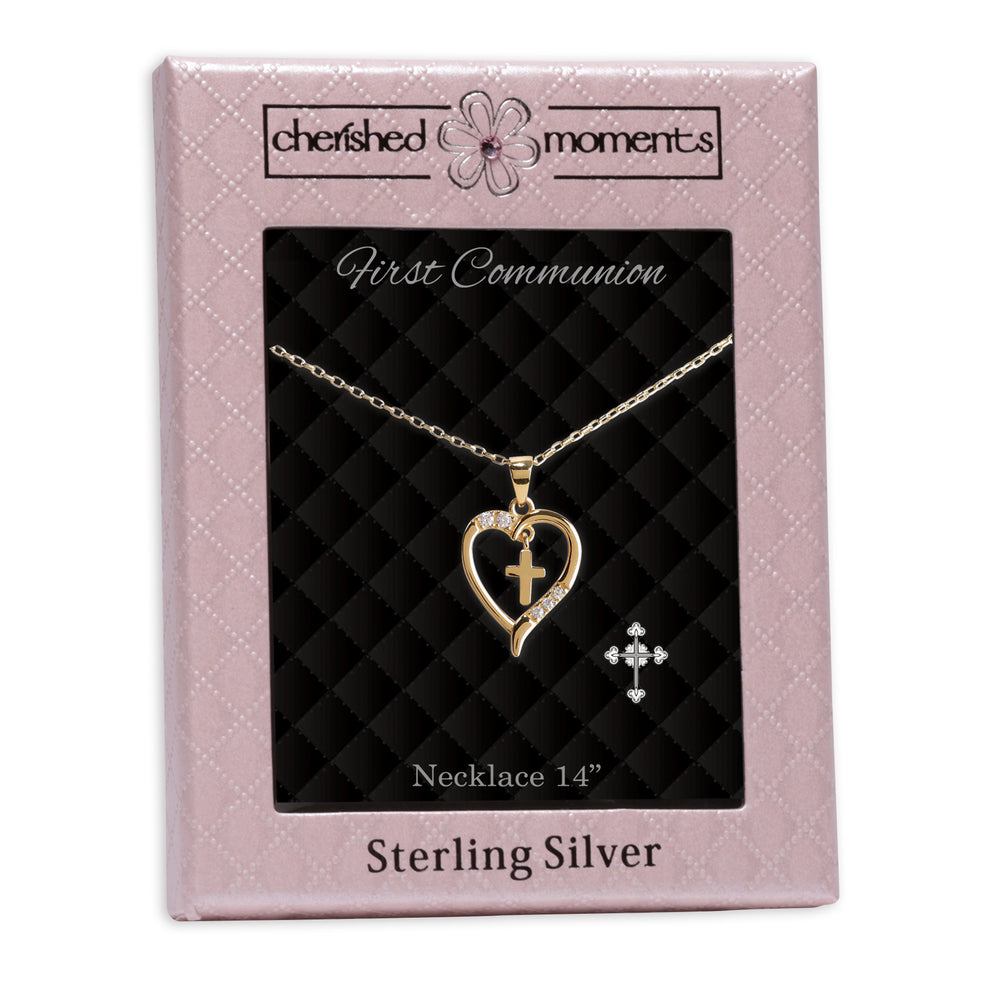 Girls First Communion Gold-Plated Dancing Cross Heart Necklace