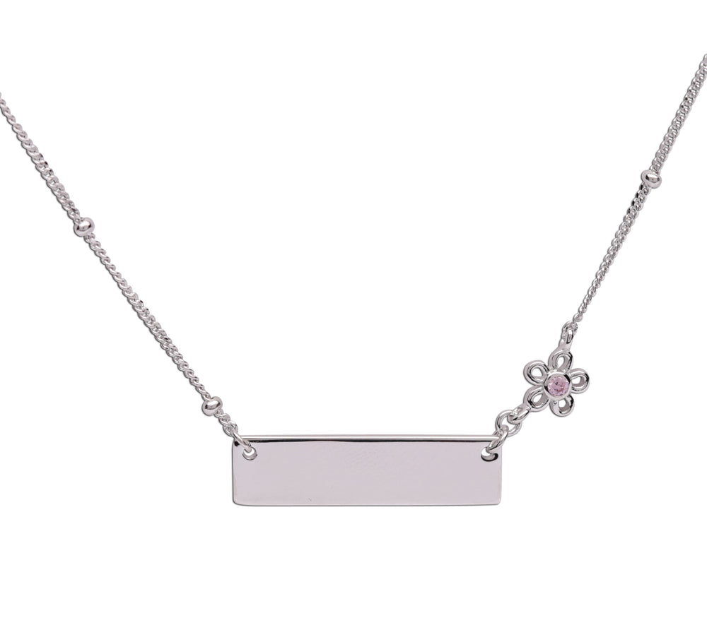 Load image into Gallery viewer, Sterling Silver Children's Bar Necklace with Daisy (BCN-HBar Daisy)