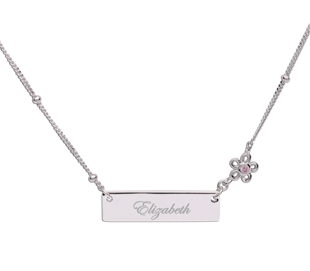 Sterling Silver Children's Bar Necklace with Daisy (BCN-HBar Daisy)
