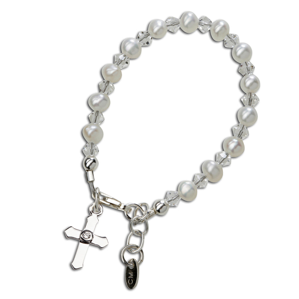 Sterling Silver baby cross bracelet