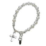 Grace - Sterling Silver Pearl Cross Bracelet