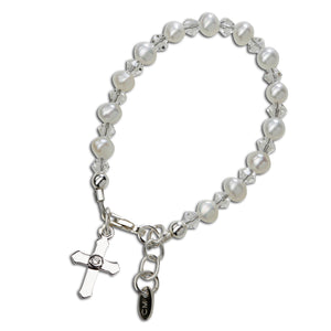 Load image into Gallery viewer, Sterling Silver baby cross bracelet