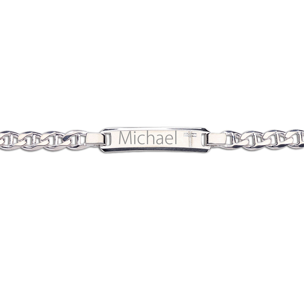 Load image into Gallery viewer, ID Bracelet (Cross) FREE Engraving - Sterling Silver I.D. Bracelet