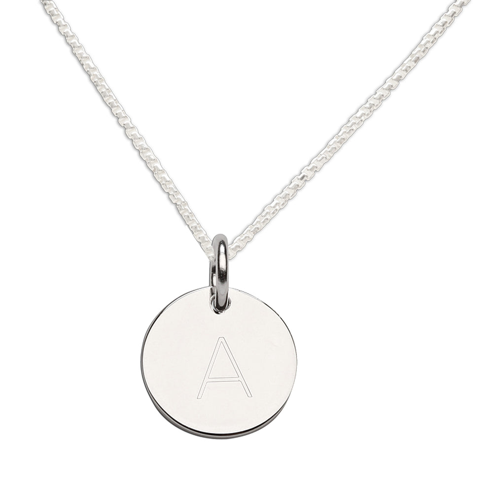 Sterling Silver Initial Disc Necklace (BCN-Initial Coin)