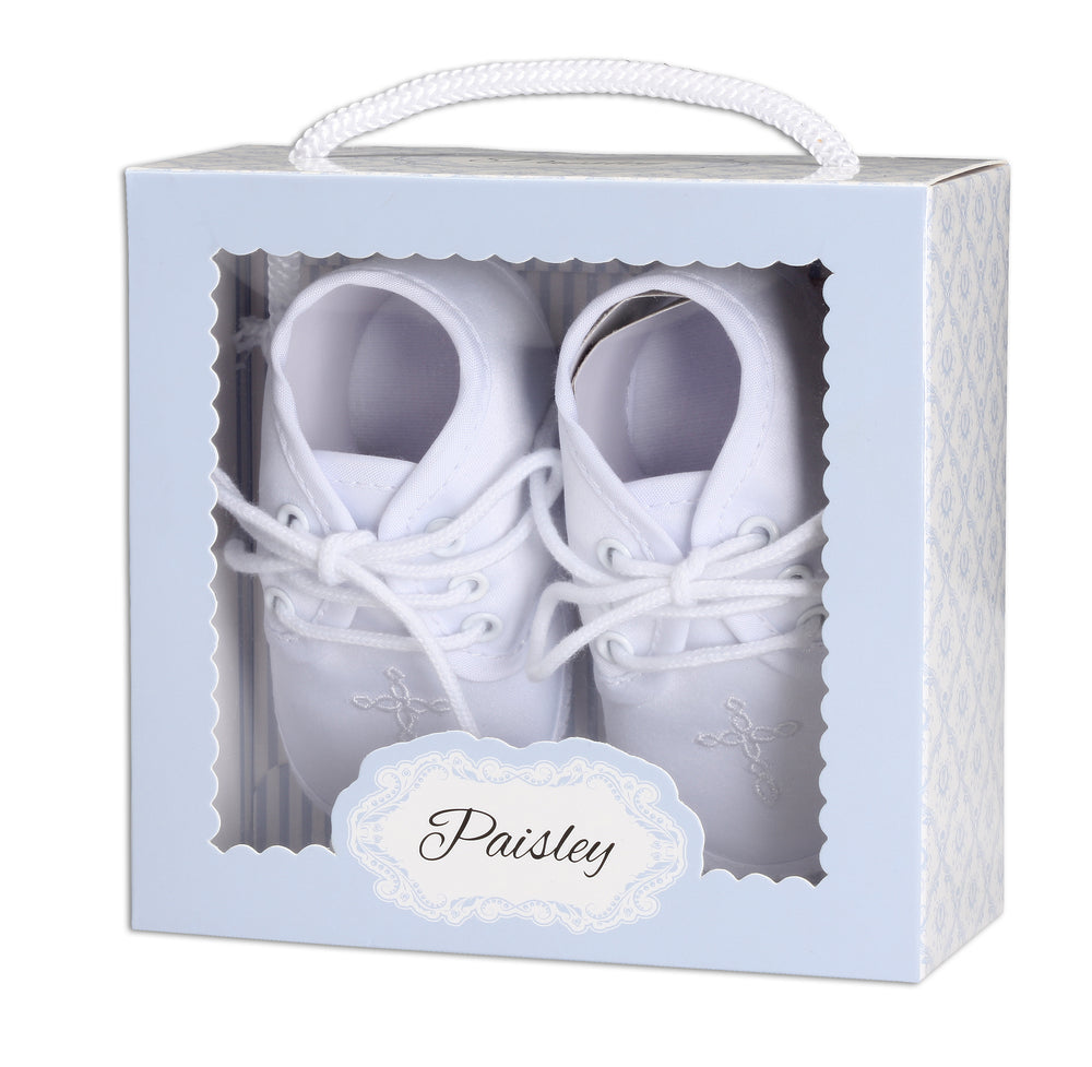 White Boys Baptism Shoe with Cross (KSB-137-Shoe)