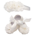 Ivory Lace Baptism Shoe and Headband Set (KSG-083-Shoe Set)