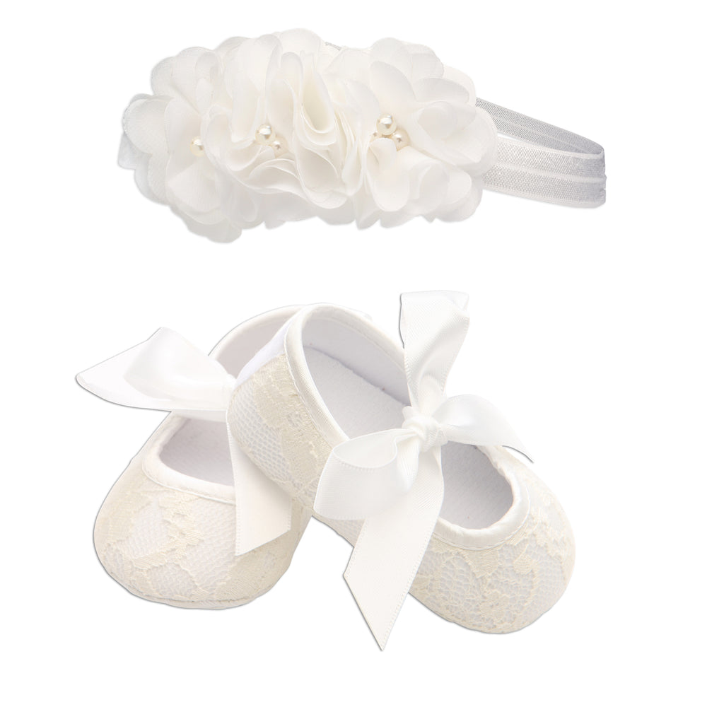 Ivory Lace Baptism Shoe and Headband Set (KSG-083-NF-Shoe Set)