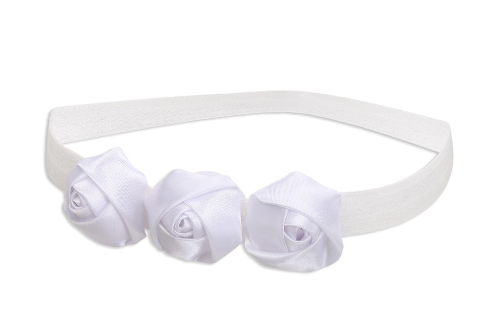 White Baptism Headband with Triple Rosette (KSG-093-HB-White)