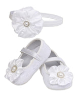 White Baptism Shoe and Headband Set (KSG-120-White Set)