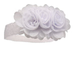 White Headband with Chiffon Flowers and Lace (KSG-136-HB-White)