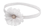White Baptism Headband with Flower (KSG-120-HB-White)
