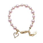 Larkin - 14K Gold Plated Pink Pearl Bracelet with Heart