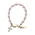 Lauren  - 14K Gold-Plated Pink Pearl Cross Bracelet