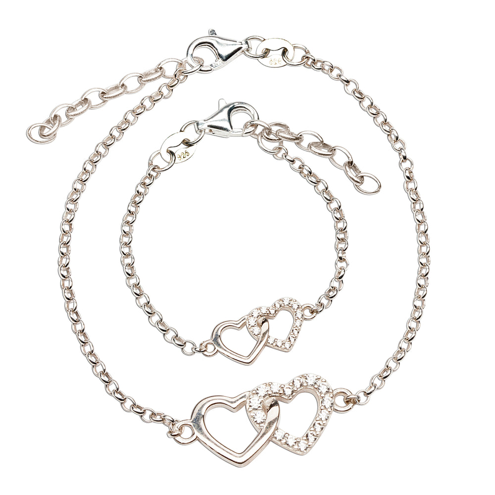 Mom and Me Bracelet Set - Silver Hearts (MM-DH)