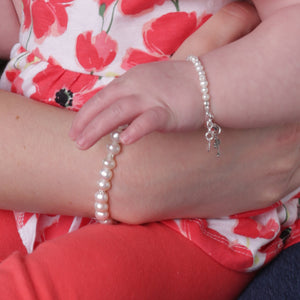 Mom and Me Bracelet Set - Baptism Gift with Cross Charms (MMC-FWP)