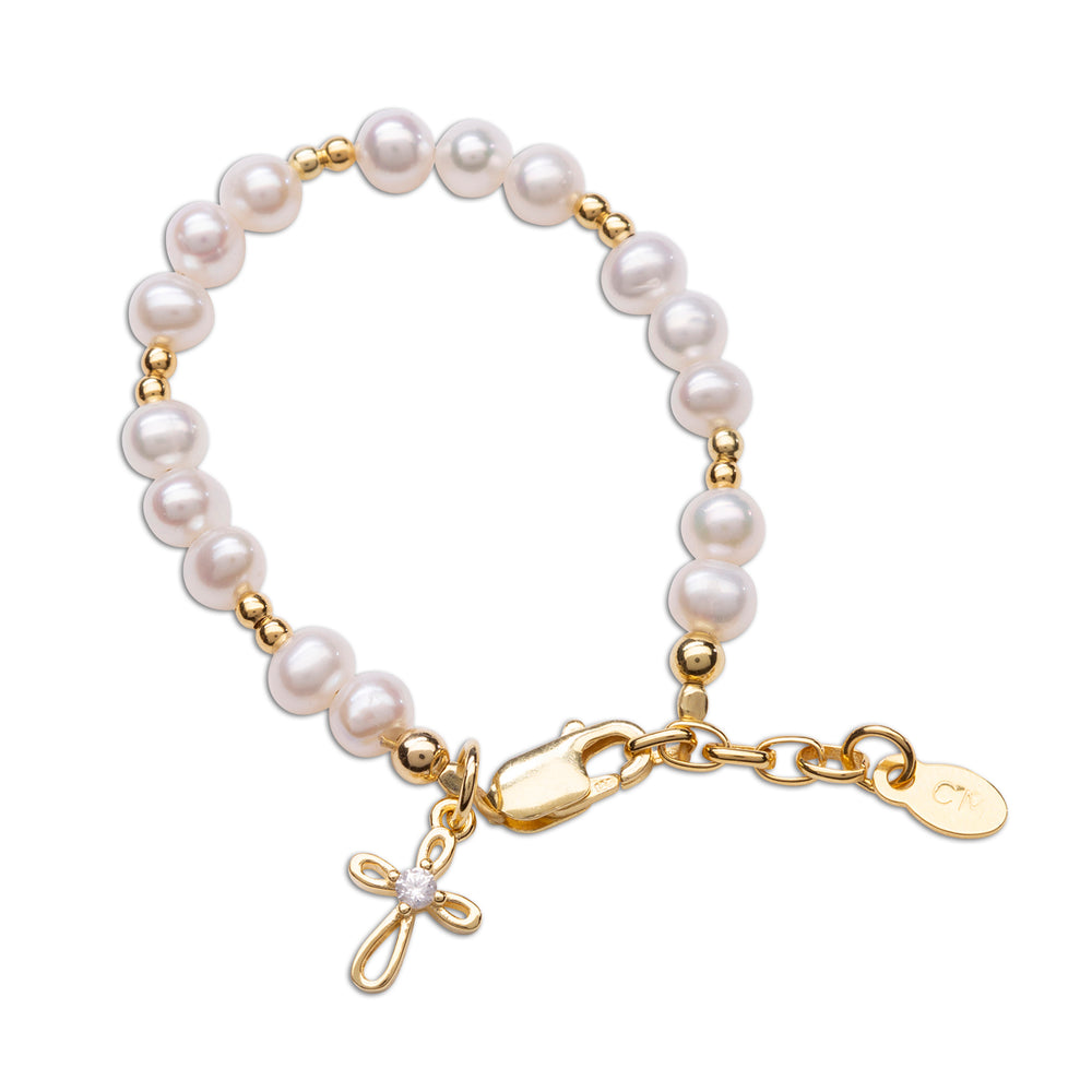 Mae  - 14K Gold-Plated Pearl Bracelet with Cross