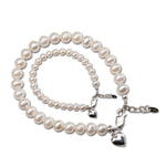 Mom and Me Pearl Bracelet Set - Silver Hearts (TCMM-FH)