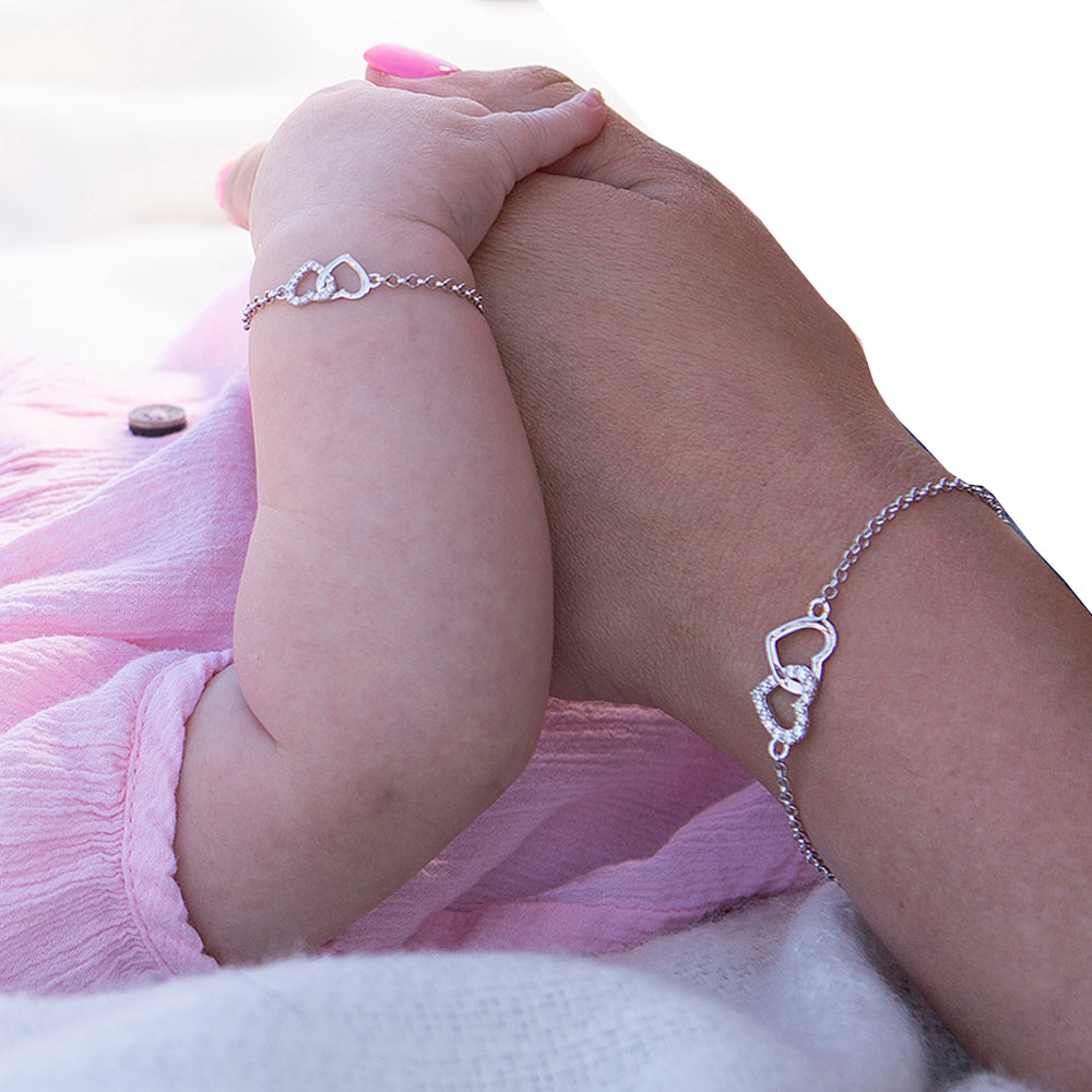 Load image into Gallery viewer, Mom and Me Bracelet Set - Silver Hearts (MM-DH)