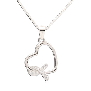 "Sterling Silver Heart ""Never Give up - You are Loved"" Cancer Survivor and Awareness Ribbon Necklace"