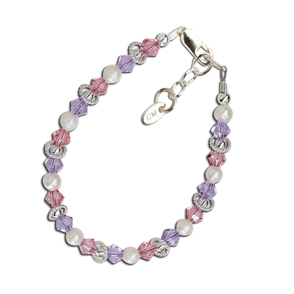 Girls Sterling Silver Purple and Pink Bracelet