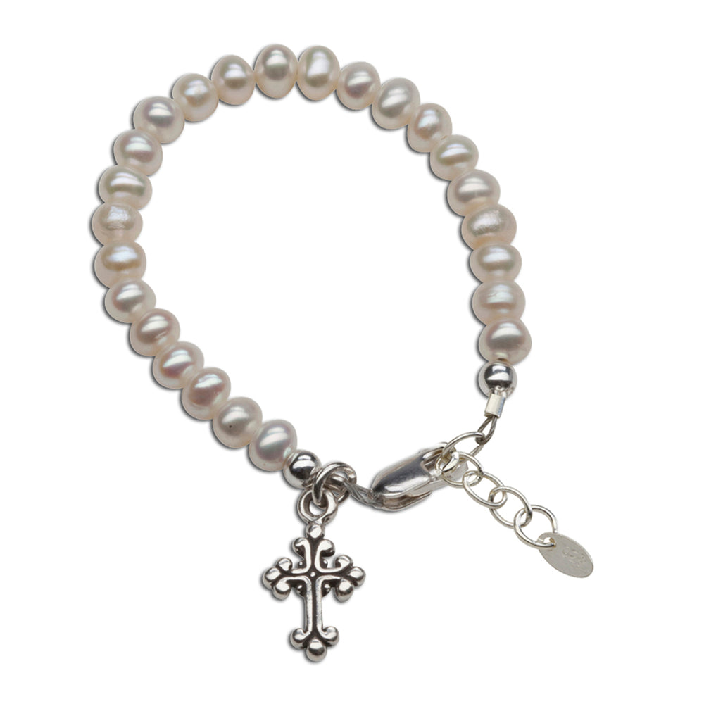 Load image into Gallery viewer, Olivia - Sterling Silver Pearl Cross Bracelet
