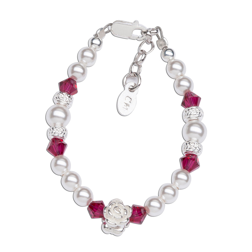Sterling Silver Bracelet for Kids Ruby