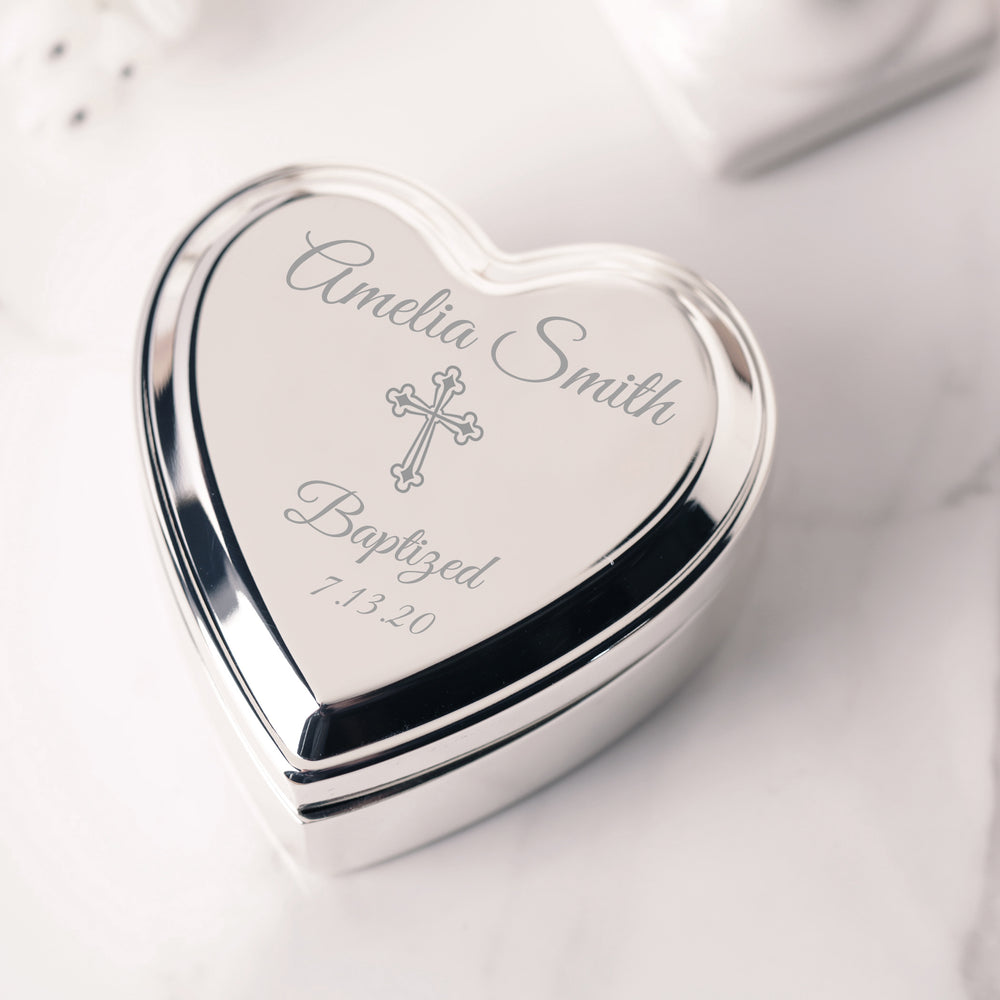 Custom Silver Jewelry Box with Engraving - Heart