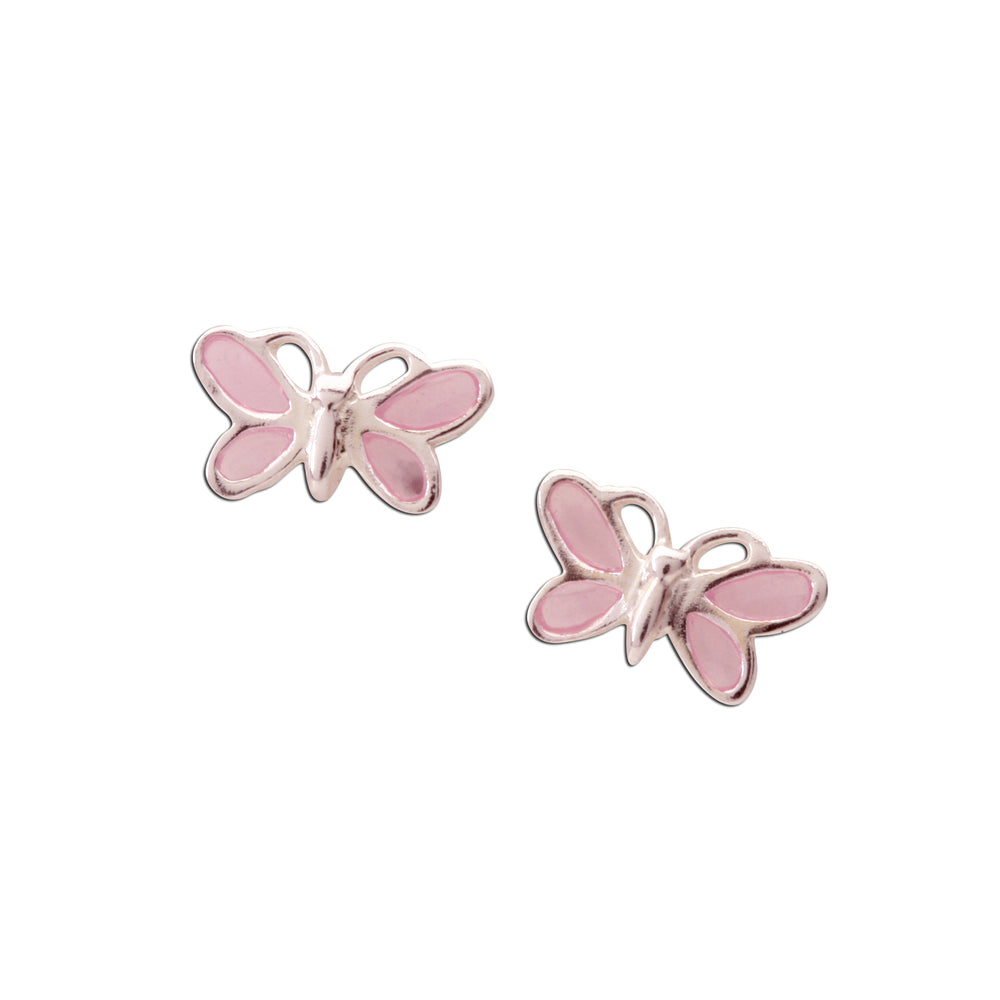 Sterling Silver Pink Butterfly Earrings (SSE-Butterfly Pink)