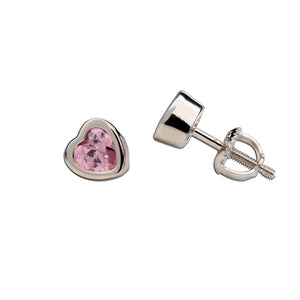 Load image into Gallery viewer, Sterling Silver Pink CZ Heart Earring (SSE-CZ Heart-Pink)