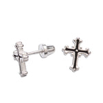 Sterling Silver Cross Earrings (SSE-Cross-Scrolled)