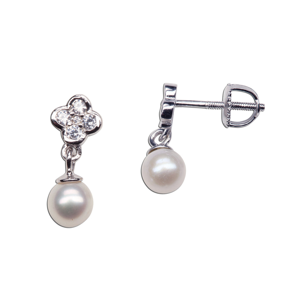 Load image into Gallery viewer, Sterling Silver Daisy w/Dangling Pearl Earrings (SSE-Daisy w/Dangling Pearl)