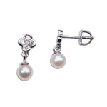 Sterling Silver Daisy w/Dangling Pearl Earrings (SSE-Daisy w/Dangling Pearl)