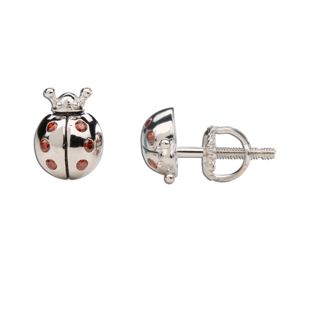 Sterling Silver Ladybug Earrings (SSE-Ladybug-Red)