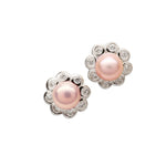 Sterling Silver Pink Pearl Button Earrings (SSE-Button-Pink)