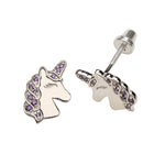 Sterling Silver Lavender Unicorn Earrings (SSE-Unicorn-Lav)