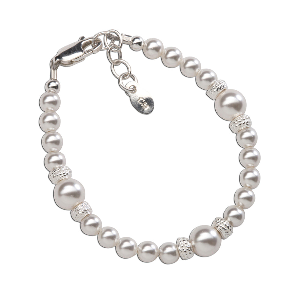 Sterling Silver Girls Pearl Bracelet