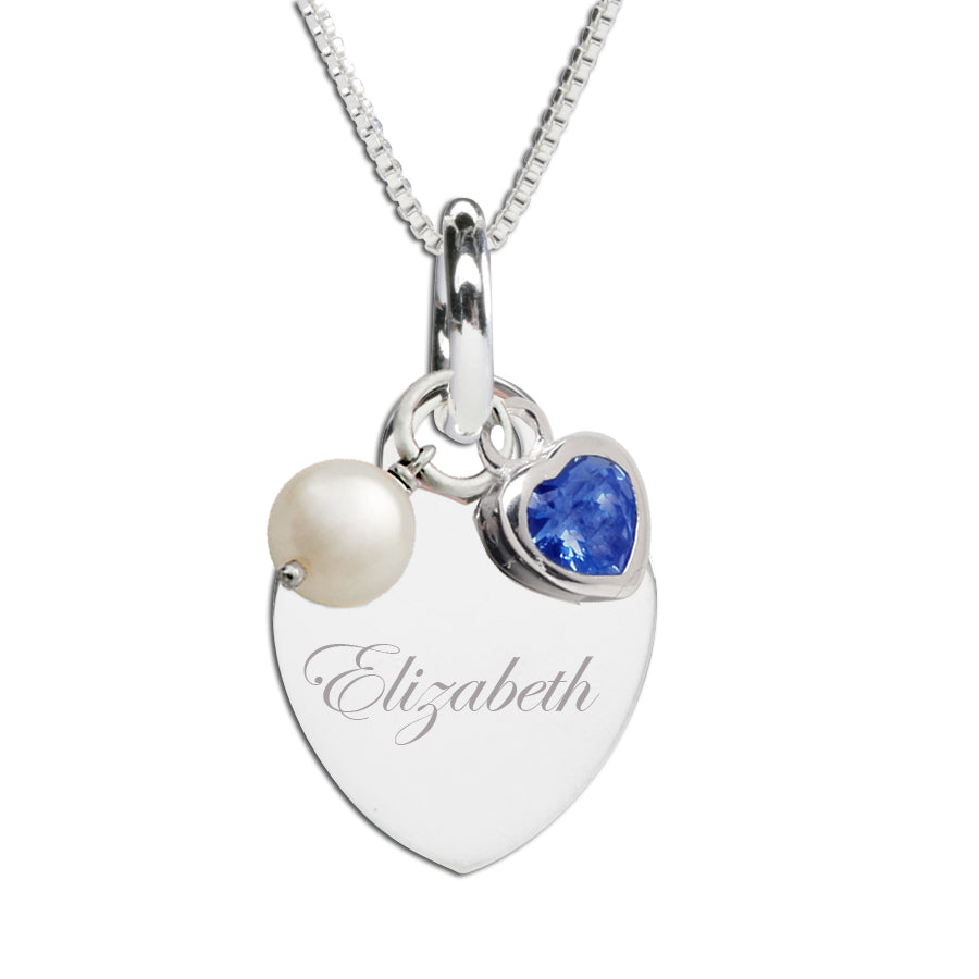 Sterling Silver Engraveable Heart Necklace (TBSN-Month)