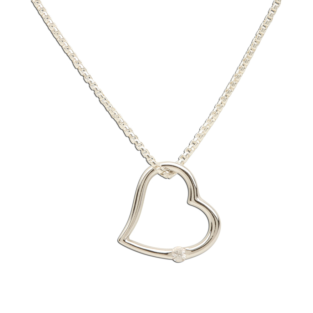 Sterling Silver Open Heart White Sapphire Necklace (TCN-Open Heart-White Sapphire)