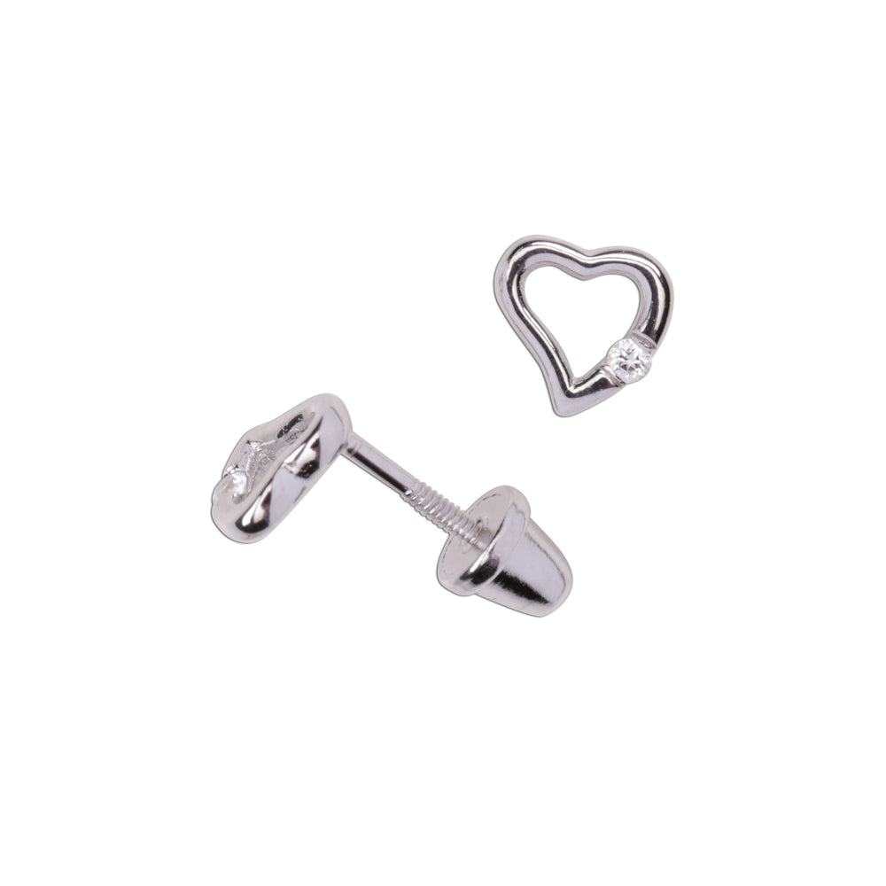 Sterling Silver Open Heart White Sapphire Earrings (TCE-Open Heart-White)