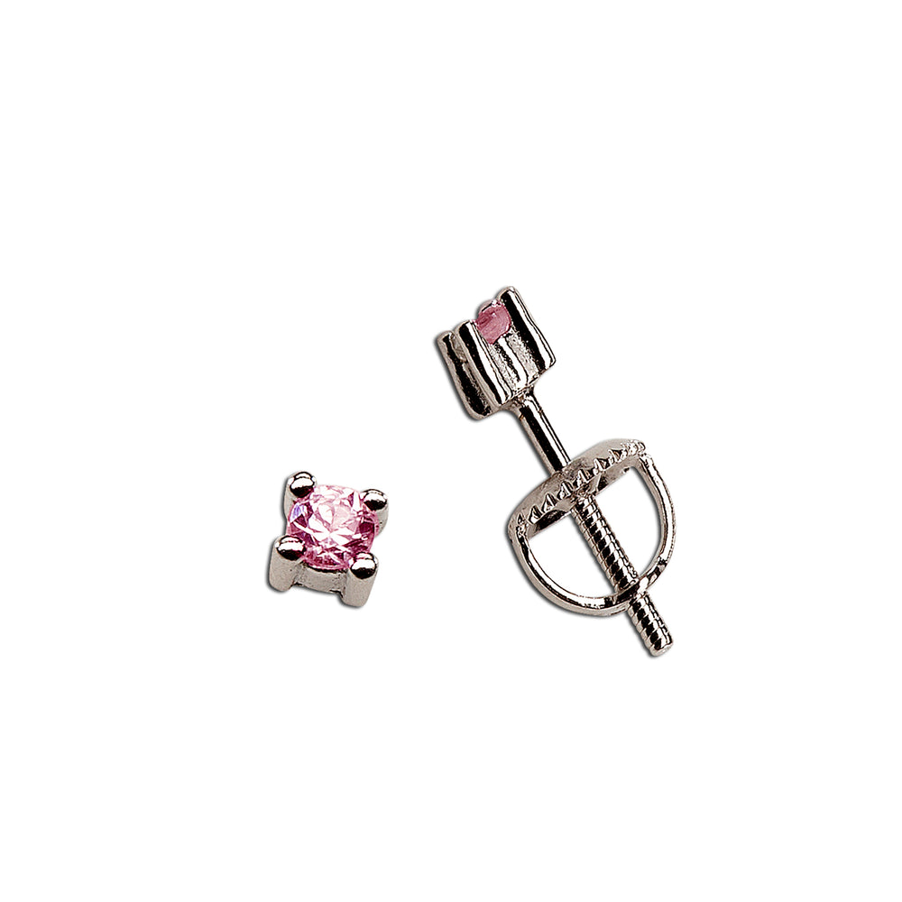 Sterling Silver Pink Sapphire Earrings (TCE-Pink Sapphire)