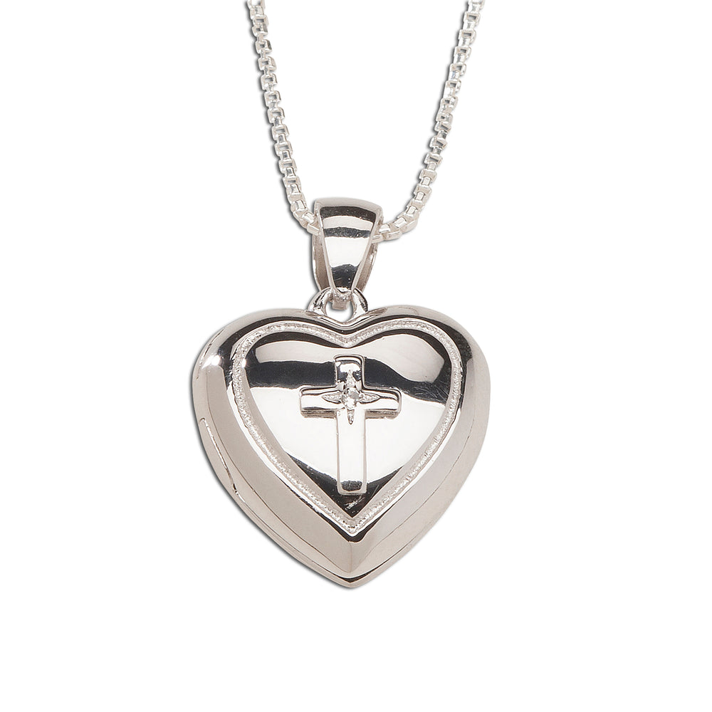 Sterling Silver Children's Heart Locket with Cross and White Sapphire (TCN-Locket-Cross)