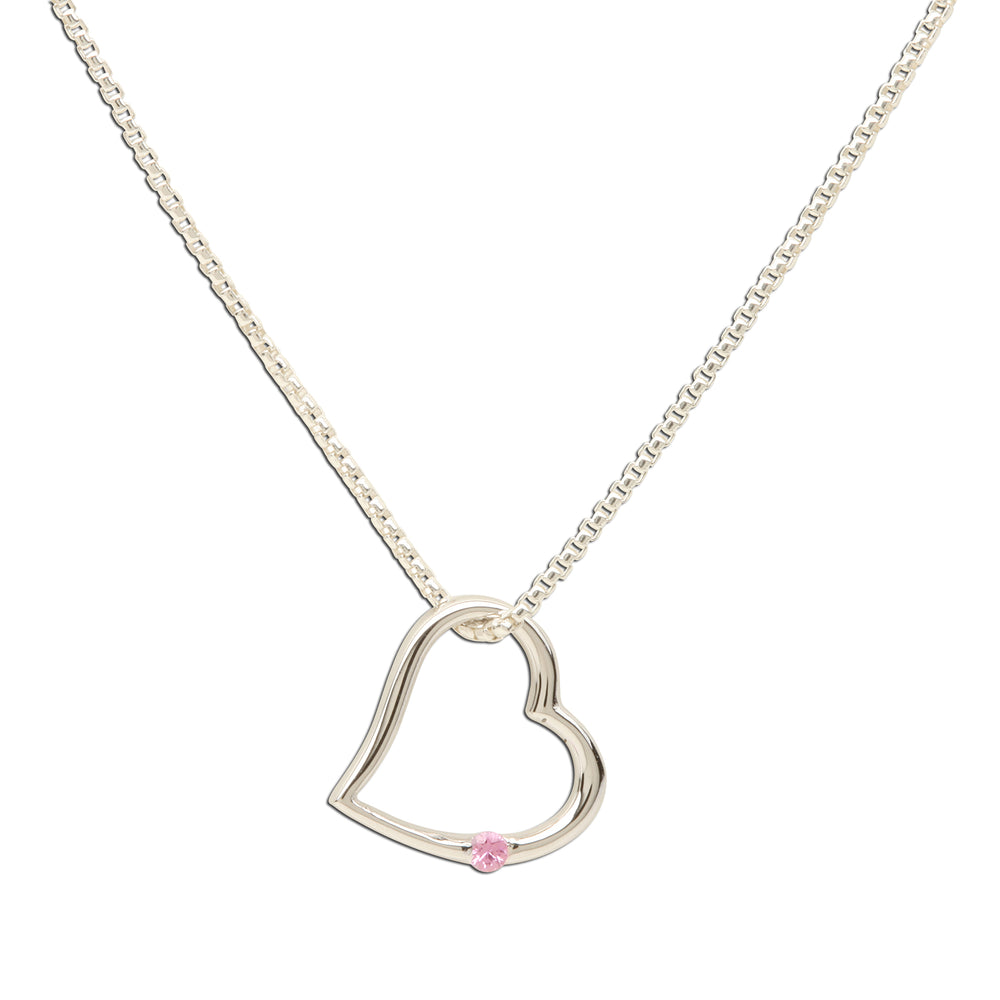 Load image into Gallery viewer, Sterling Silver Open Heart Pink Sapphire Necklace (TCN-Open Heart-Pink Sapphire)