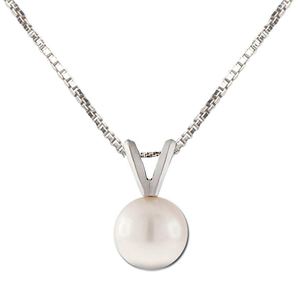 Sterling Silver Pearl Necklace (TCN-Pearl-White)