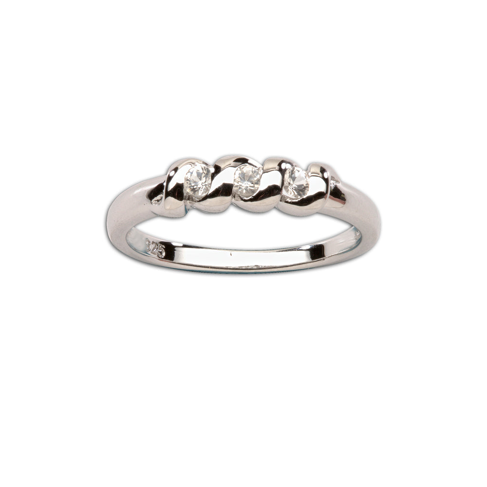 Timeless Sterling Silver Baby Ring with White Sapphires (TCR-03-White Sapphire)